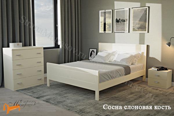 Райтон Кровать Dakota с основанием , натуральное дерево, классика, сосна, слоновая кость, орех, коричневый, венге, белый