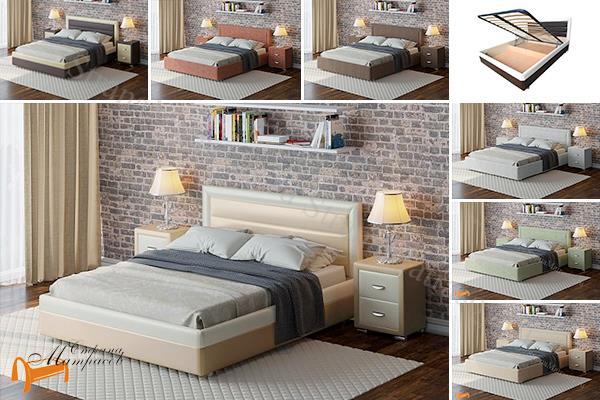 Райтон Кровать Life Box 2 с подъемным механизмом , черно - белый, бежево - коричневый, экокожа, люкс, лайв бокс