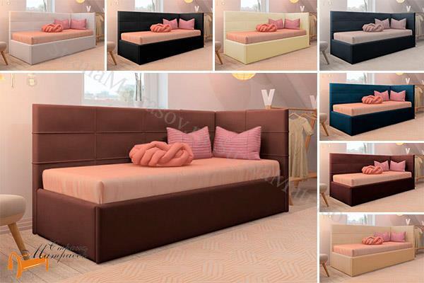 Райтон Кровать Life 1 софа  , экокожа, ткань, коричневый, белый, бежевый, черный, лайф