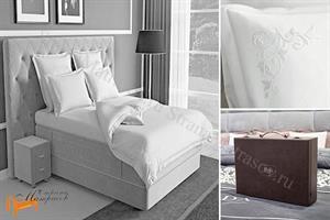 Verda -  Комплект постельного белья Verda белый сатин (простынь на резинке на высоту евро-топа до 10см)