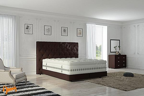 Verda Кровать Luxe с основанием Basement, уменьшенное изголовье , спальная система Верда, шоколад, серый, белый, графит,