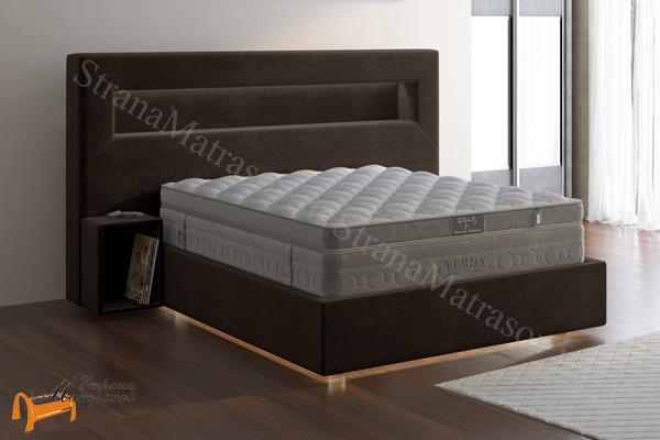 Verda Кровать Smart с основанием Island M , спальная система Верда Смарт, экокожа белая, коричневая, кремовая, черная, ткань Софтнес, Велсофт