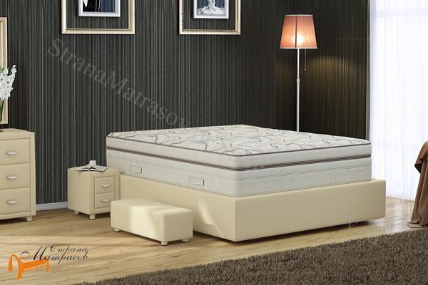Verda Кровать без изголовья Island M , с углублением под матрас, ткань велсофт, экокожа, сплошное основание, королевский дизайн