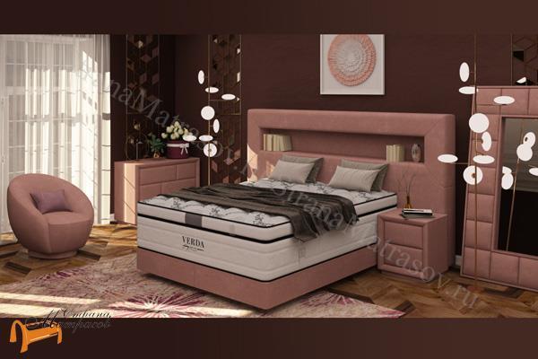 Verda Кровать Smart с основанием Podium M , спальная система Верда Смарт, экокожа белая, коричневая, кремовая, черная, ткань Софтнес, Велсофт