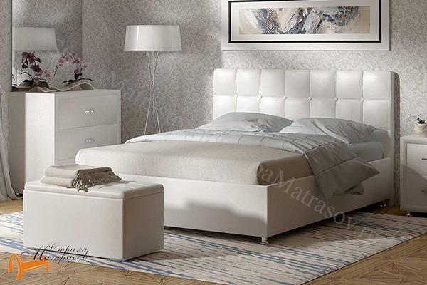 Сонум Кровать Tivoli с основанием , экокожа, прато, с основанием, ортопедическое основание, экокожа, велюр, коричневый, бежевый, белый